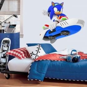 Decorative vinyl video games sonic snowboard