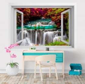 Vinyl 3d window waterfalls in thailand huay mae kamin