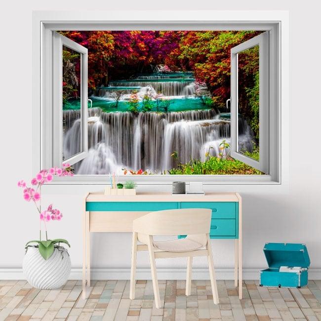 Vinyl 3d window waterfalls in thailand huay mae kamin