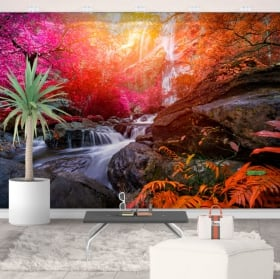 Vinyl murals waterfall and trees in autumn