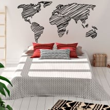 Decorative vinyl and stickers world map strokes
