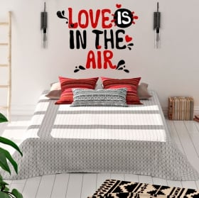 Wall stickers cats with text love in watercolor