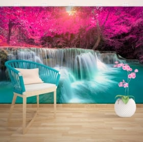 Wall murals of adhesive vinyl with waterfalls