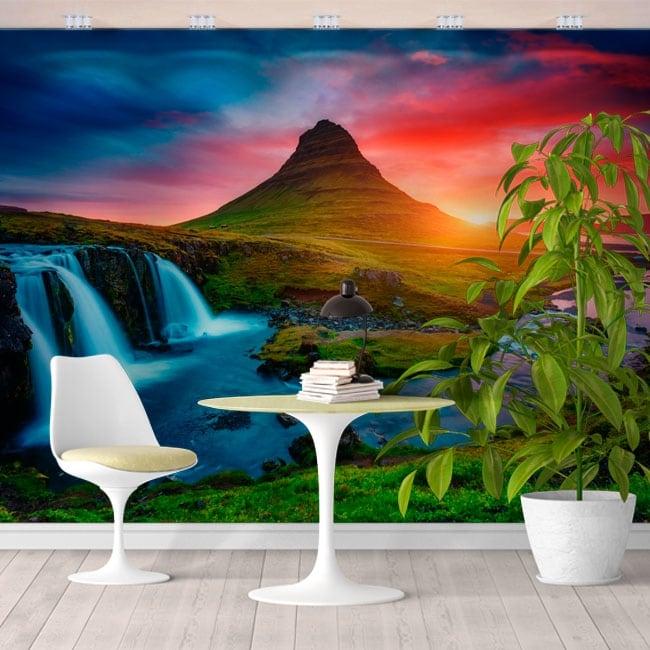 Wall mural iceland sunset waterfalls and kirkjufell mountain