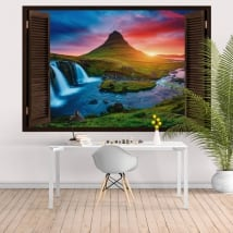 Windows 3d iceland sunset waterfalls and mountain kirkjufell