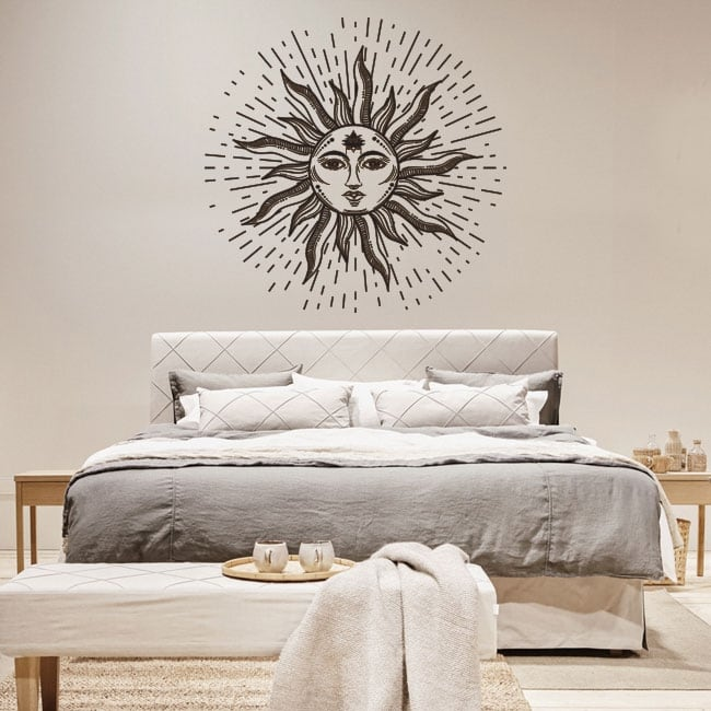 Decorative vinyl and stickers sun with face