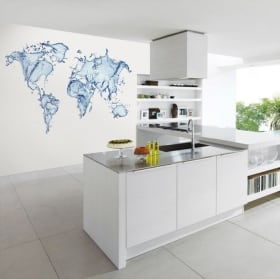 Wall murals world map water splash