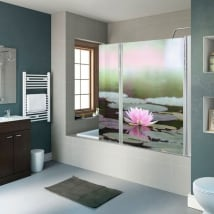 Vinyl bathroom screens lotus flower