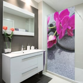 Vinyl for bathroom screens zen style