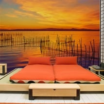 Wall murals sunset in the albufera of valencia