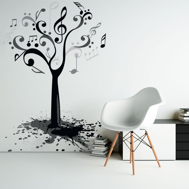 Vinyl and stickers tree with music notes