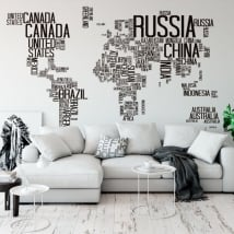 Vinyl and stickers text world map