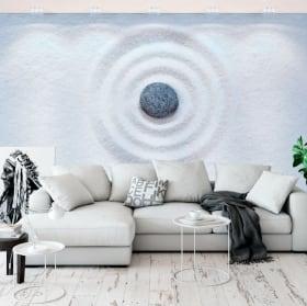 Vinyl murals stones and zen flowers