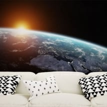 Wall murals planet earth and sun
