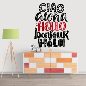Vinyl stickers hello in several languages