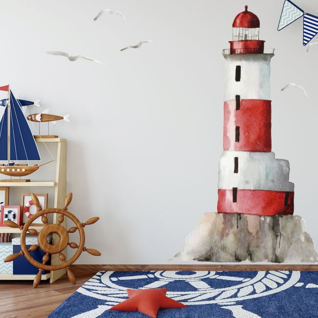Vinyl and stickers lighthouse with seagulls in watercolor