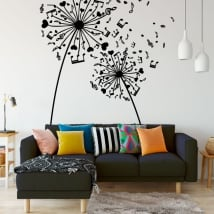 Vinyl and stickers dandelions with music notes