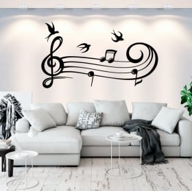 Decorative vinyl music stave and birds