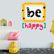 Decorative vinyl and stickers phrase be happy