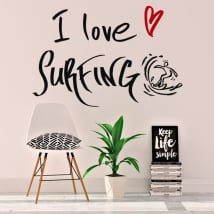 Decorative vinyl phrases i love surfing