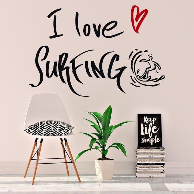 Decorative vinyl phrases i love surfing