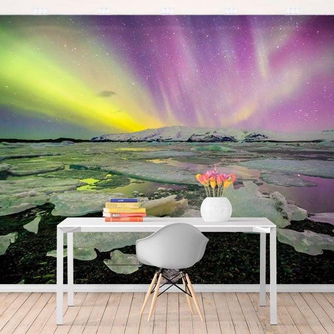 Wall murals northern lights iceland