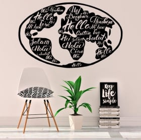 Vinyl and stickers world map greeting several languages