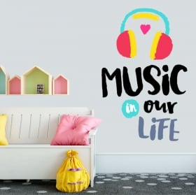 Vinyl and stickers phrases in english music in our life