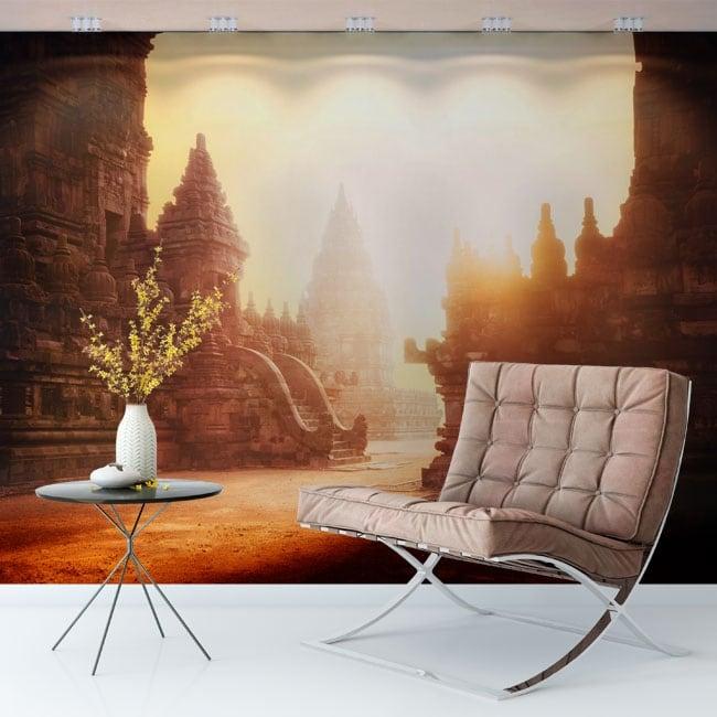 Wall mural sunrise temple prambanan indonesia