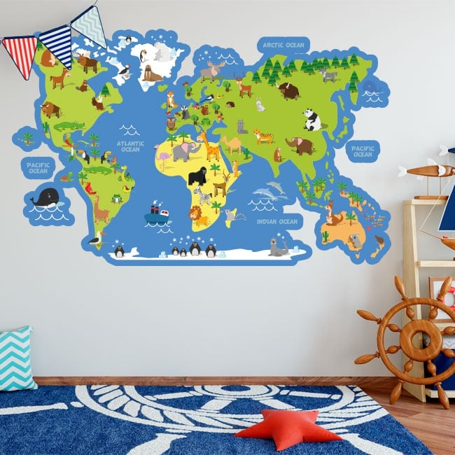 Vinyls and children's stickers world map with animals