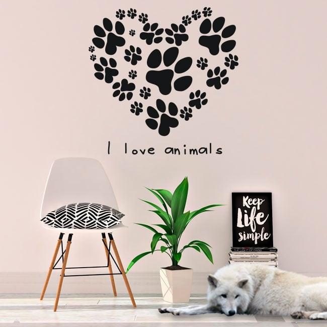 Vinyl and stickers phrase i love animals