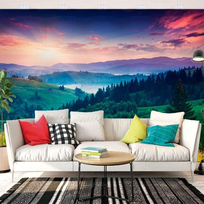 Wall murals sunrise mountains carpathians ukraine