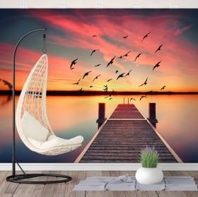 Vinyl murals sunset bridge on the lake