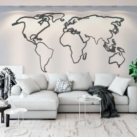 Vinyl and stickers world map strokes