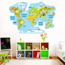 Vinyl stickers world map with animals