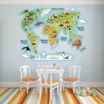 Vinyls world map with animals