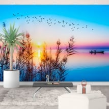Vinyl murals sunrise on the lake