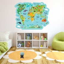 Vinyl and stickers world map with children's animals