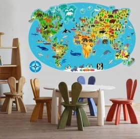 Vinyls and stickers animal world map