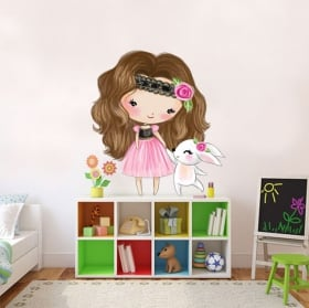 Vinyl stickers for children girl and rabbit