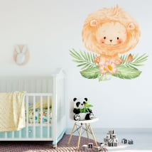 Vinyls and stickers for babies lion with flowers
