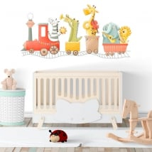 Vinyls and stickers for babies musical train animals