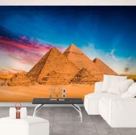 Vinyl wall murals of giza pyramids