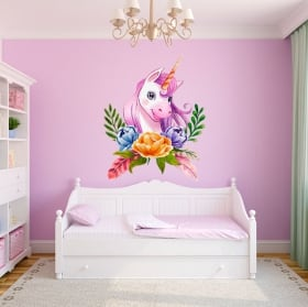 Vinyls and children's stickers watercolor unicorn