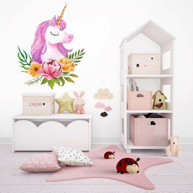 Children or youth vinyl watercolor unicorn