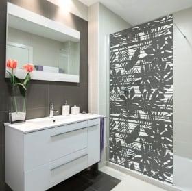 Vinyl bathroom screens tropical leaves and lines