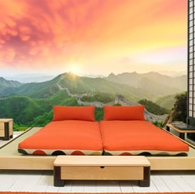 Wall murals sunset on the great wall of china