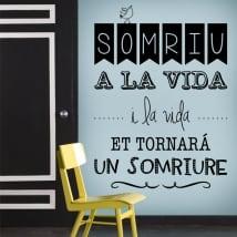 Vinyl and stickers catalan phrases somriu a la vida