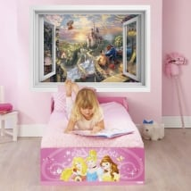 Vinyl and stickers disney 3d window beauty and the beast