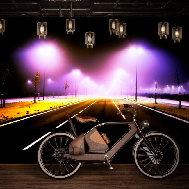 Vinyl wall murals lights on the road